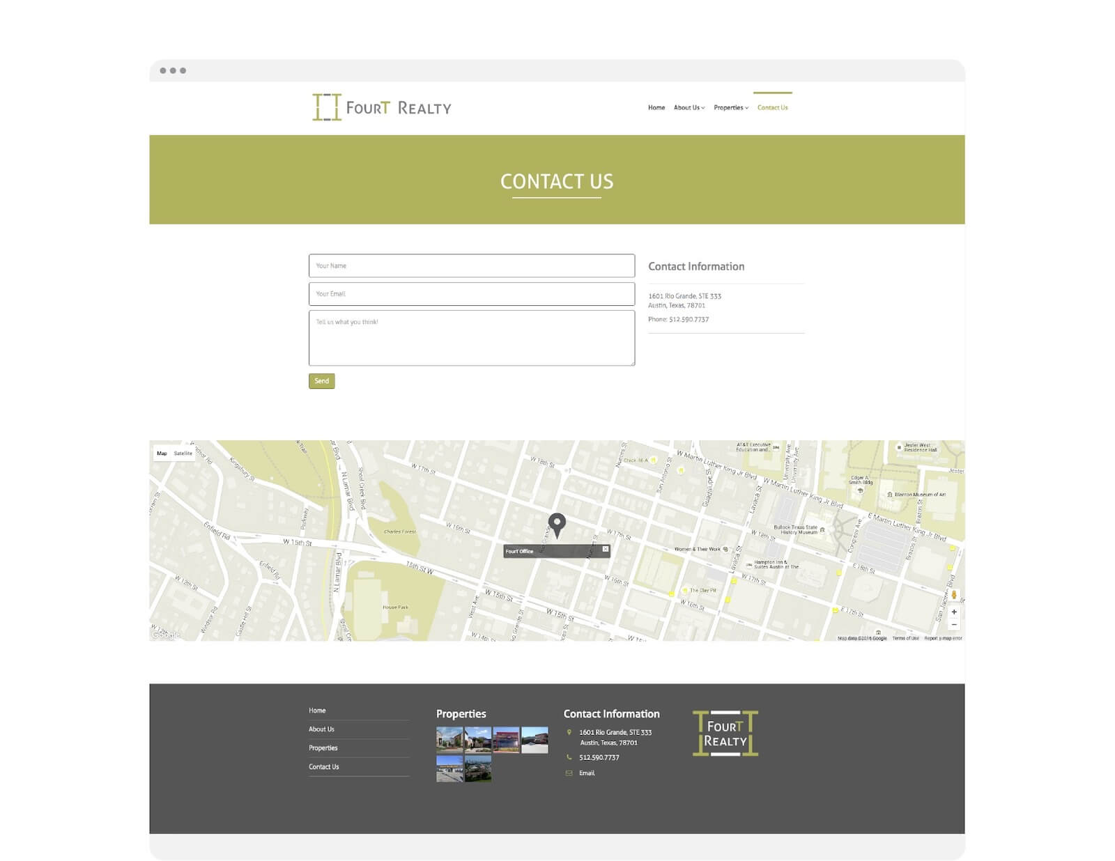 FourT Realty contact page website design