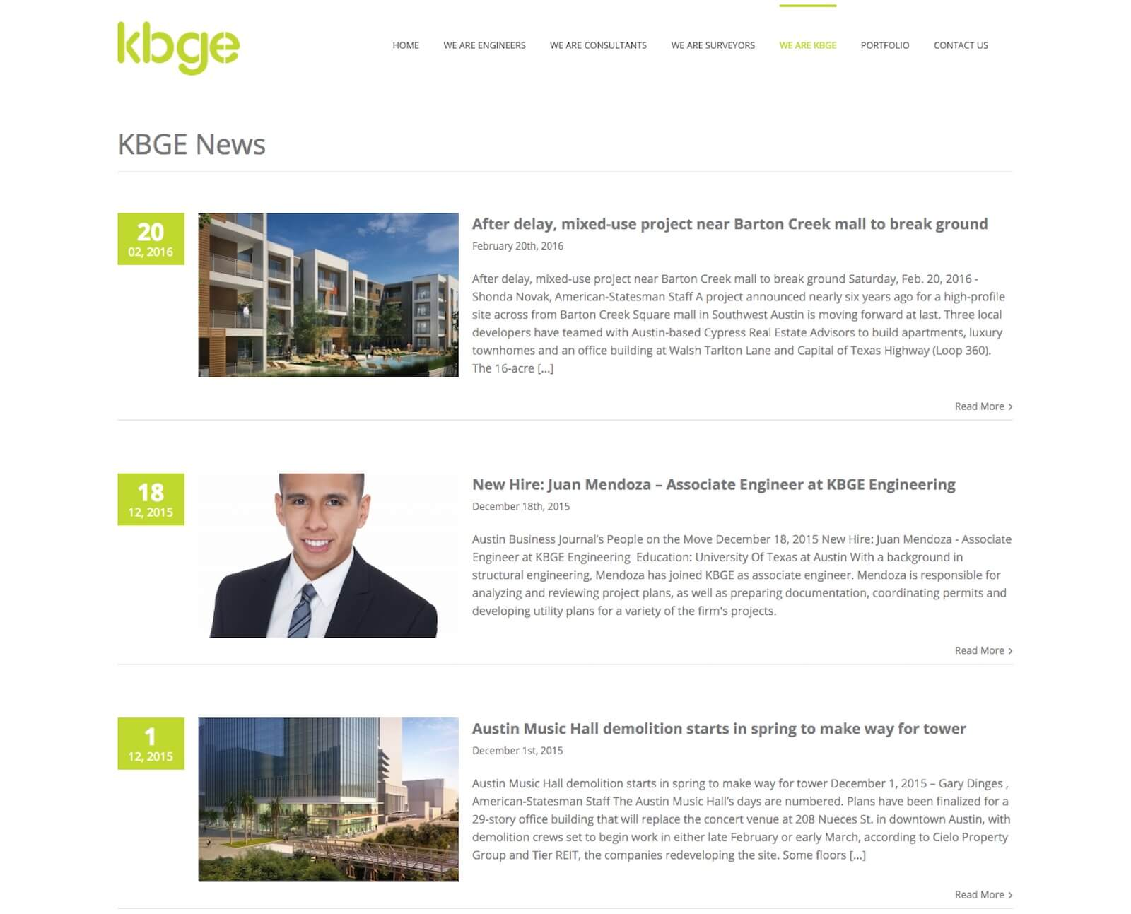 KBGE Engineering blog page website design